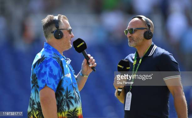 Yorkshire and England player and TalkSport commentator Darren Gough and Mark Butcher chat before Day One of the Second Test between England and South...