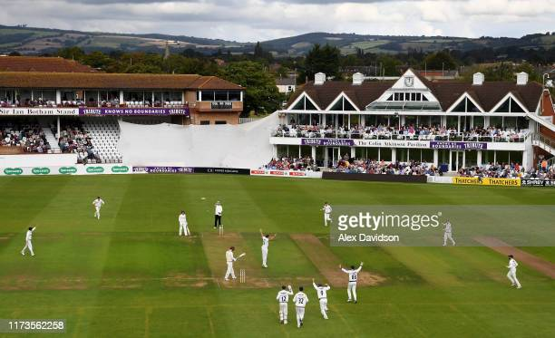 Yorkshire appeal successfully for the wicket Tom Banton of Somerset during Day 1 of the Specsavers County Championship match between Somerset and...