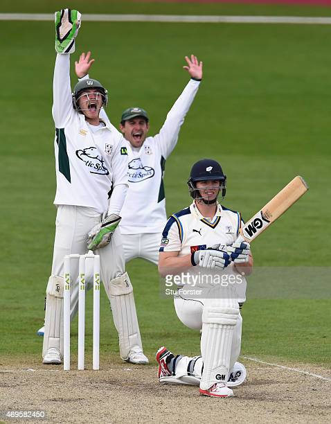 Yorkshire batsman Alex Lees survives an appeal from keeper Ben Cox and Daryl Mitchell during day two of the LV County Championship Division One match...