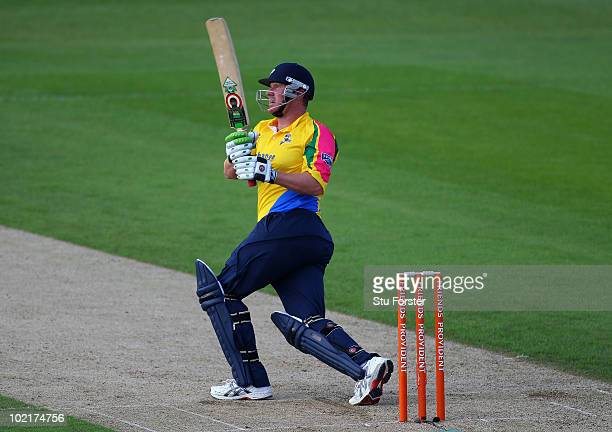Yorkshire batsman Anthony McGrath hits a ball for six runs during the Friends Provident T20 match between Yorkshire and Lancashire at Headingly on...