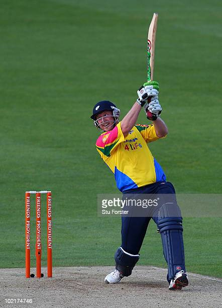 Yorkshire batsman Anthony McGrath hits a six during the Friends Provident T20 match between Yorkshire and Lancashire at Headingly on June 17 2010 in...