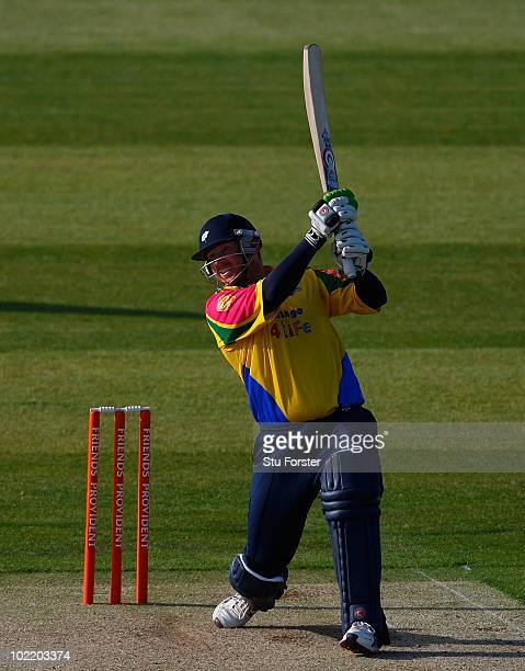 Yorkshire batsman Anthony McGrath hits out during the Friends Provident T20 match between Durham and Yorkshire at the Riverside on June 18 2010 in...