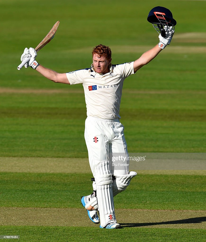 Yorkshire batsman Jonny Bairstow celebrates after reaching his century during day one of the LV County Championship Division One match between Durham and Yorkshire at Emirates Durham ICG on June 28, 2015 in Chester-le-Street, England.