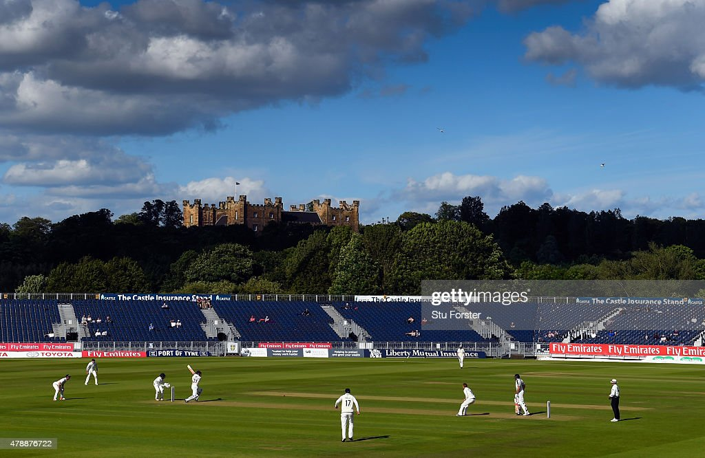 Yorkshire batsman Jonny Bairstow picks up some runs in the shadow of Lumley Castle during day one of the LV County Championship Division One match between Durham and Yorkshire at Emirates Durham ICG on June 28, 2015 in Chester-le-Street, England.