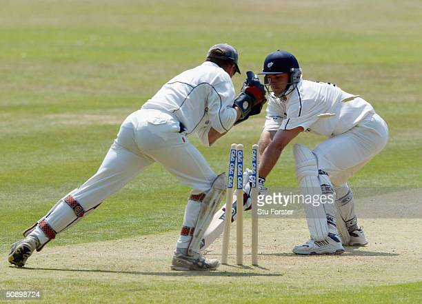 Yorkshire batsman Michael Lumb is stumped for 76 runs by wicketkeeper Mole during the Cheltenham and Gloucester Game between Devon and Yorkshire at...