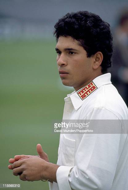 Yorkshire batsman Sachin Tendulkar prior to their Benson and Hedges Cup match against Kent at Headingley in Leeds, 30th April 1992. Kent won by 70...