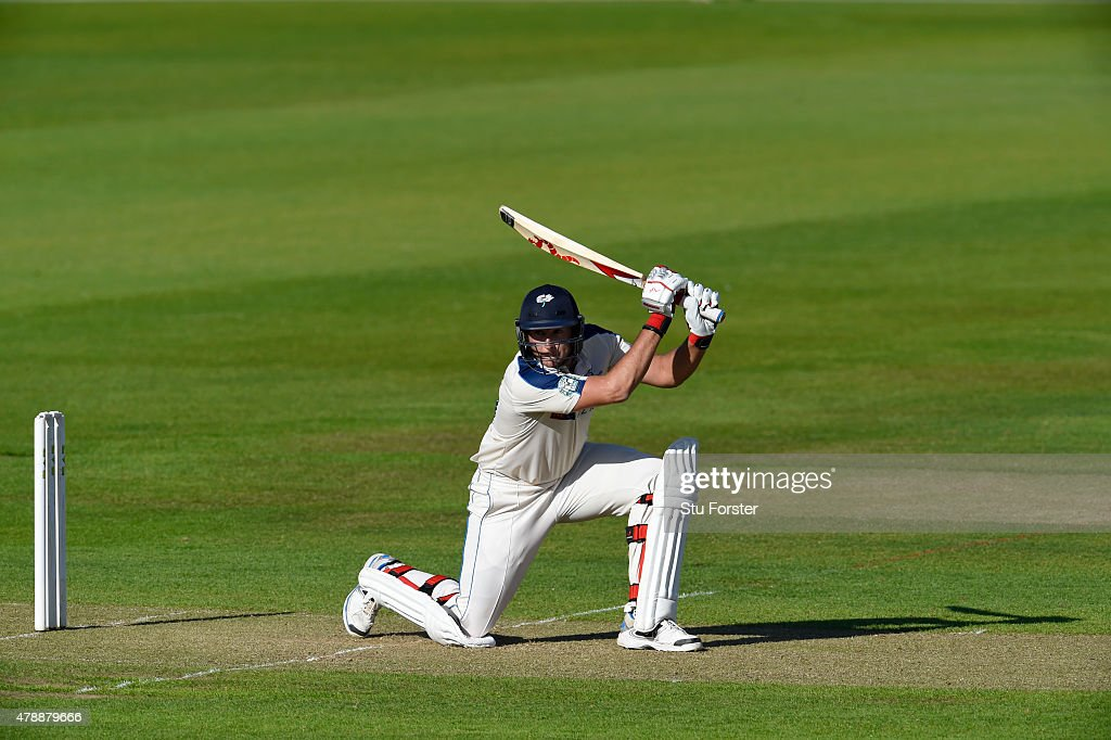 Yorkshire batsman Tim Bresnan hits out during day one of the LV County Championship Division One match between Durham and Yorkshire at Emirates Durham ICG on June 28, 2015 in Chester-le-Street, England.