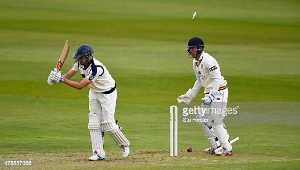 Yorkshire batsman Will Rhodes is bowled by Jamie Harrison as wicketkeeper Michael Richardson looks on during day one of the LV County Championship...