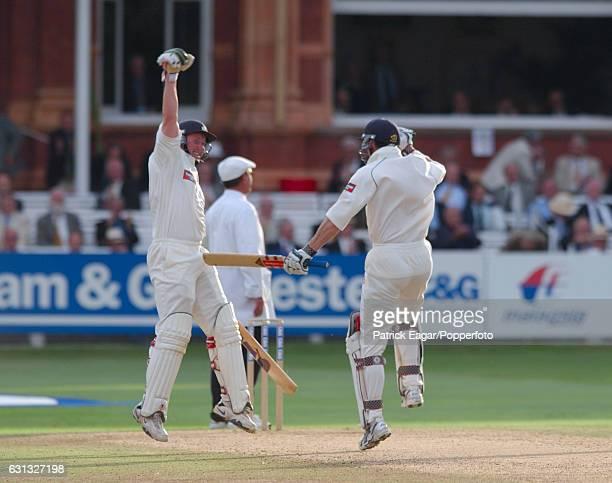 Yorkshire batsmen Anthony McGrath and Matthew Elliott celebrate winning the Cheltenham Gloucester Trophy Final between Somerset and Yorkshire at...
