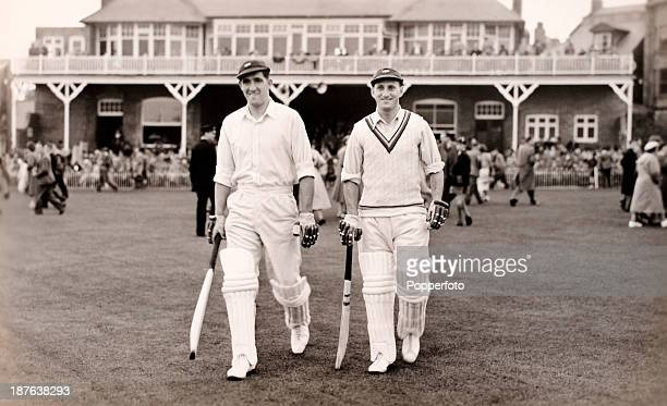 Yorkshire batsmen Len Hutton and Vic Wilson opening the innings for the Players against the Gentlemen during the Scarborough Cricket Festival 6th...