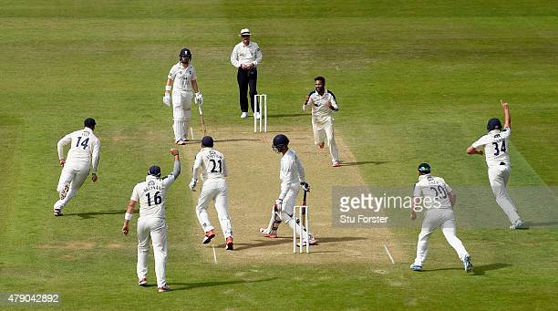 Yorkshire bowler Adil Rashid celebrates after dismissing Durham batsman Keaton Jennings during day three of the LV County Championship Division One...