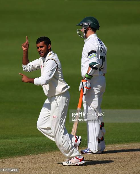 Yorkshire bowler Adil Rashid celebrates after taking the wicket of Vikram Solanki during Day One of the LV County Championship Division One match...