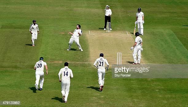 Yorkshire bowler Ryan Sidebottom celebrates after dismissing Durham batsman Mark Stoneman during day four of the LV County Championship Division One...