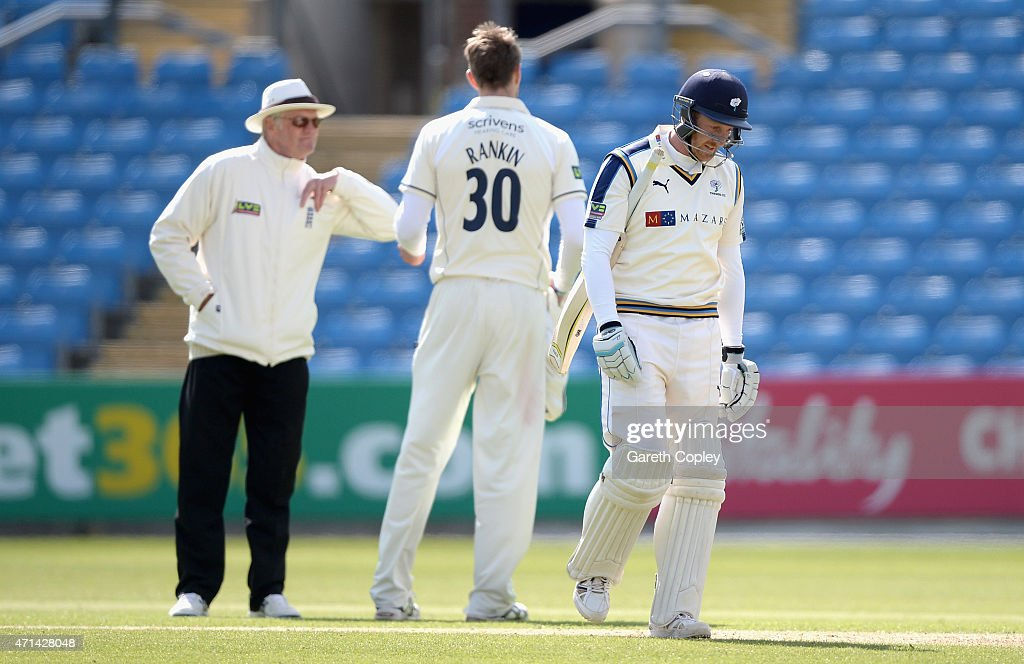 Yorkshire captain Andrew Gale leaves the field after being dismissed by Boyd Rankin during day three of the LV County Championship Division One match between Yorkshire and Warwickshire at Headingley on April 28, 2015 in Leeds, England.