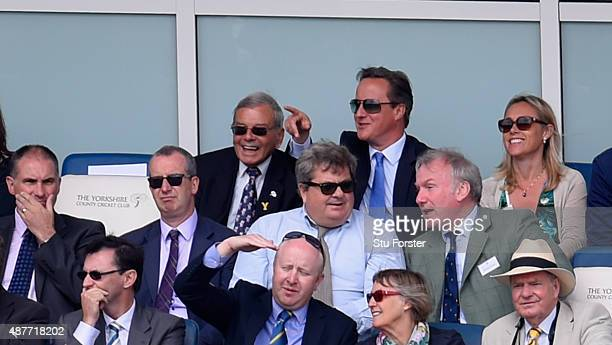 Yorkshire CC president Harold 'Dickie' Bird enjoys a joke with Prime Minister David Cameron during the 4th Royal London OneDay International match...