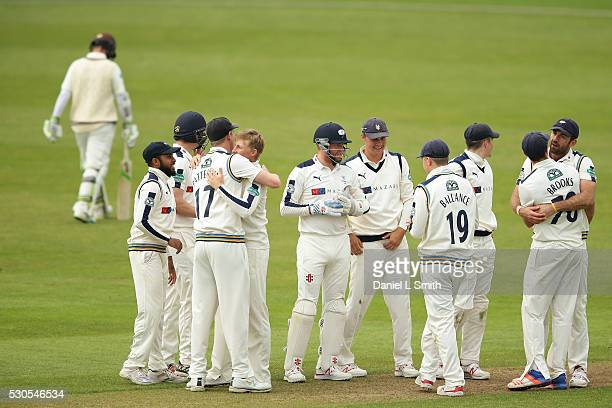 Yorkshire celebrate after Steve Davies of Surrey is dismissed by LBW during day four of the Specsavers County Championship Division One match between...