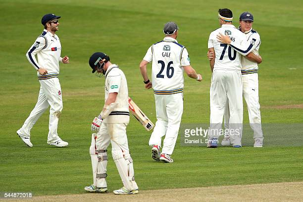 Yorkshire celebrate the dismissal of Sam Robson of Middlesex during day two of the Specsavers County Championship division one match between...