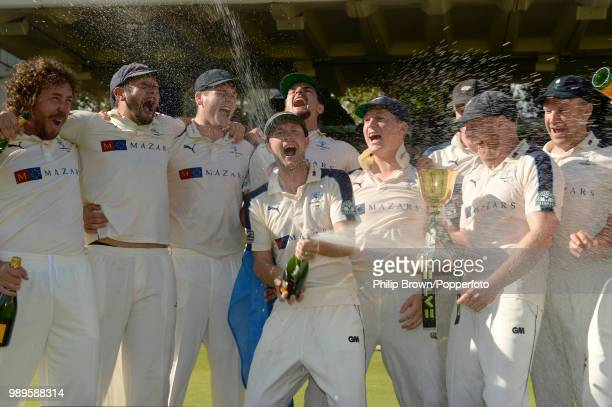 Yorkshire celebrate winning the County Championship for the second year in a row after the LV County Championship match against Middlesex at Lord's...