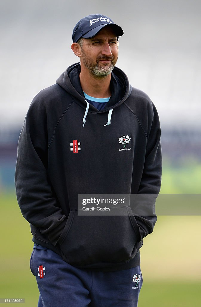 Yorkshire coach Jason Gillespie during day four of the LV County Championship Division One match between Yorkshire and Surrey at Headingley on June 24, 2013 in Leeds, England.