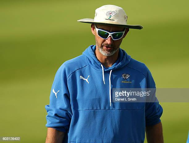 Yorkshire coach Jason Gillespie during warm up at Yorkshire's final home game in the Specsavers County Championship Division One match between...