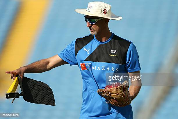 Yorkshire coach Jason Gillespie during warm up prior to the Specsavers County Championship Division One match between Yorkshire and Durham at...