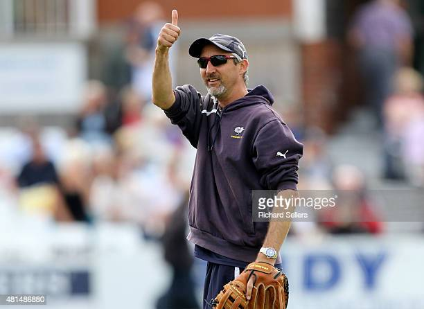 Yorkshire coach Jason Gillespie gives thumbs up on day three of the LV County Championship division One match between Yorkshire and Worcestershire at...
