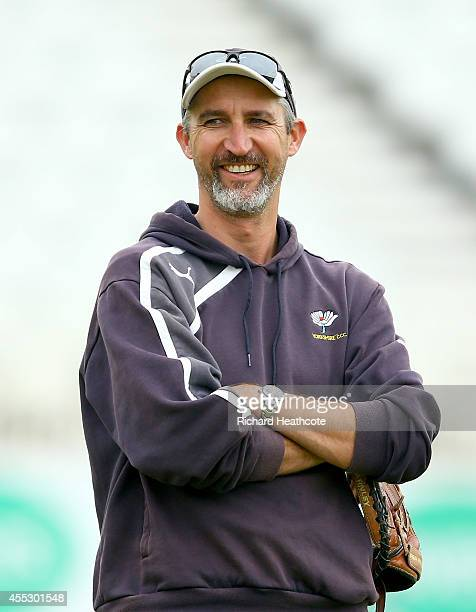 Yorkshire coach Jason Gillespie looks on as the team warms up during the fourth day of the LV County Championship match between Nottinghamshire and...