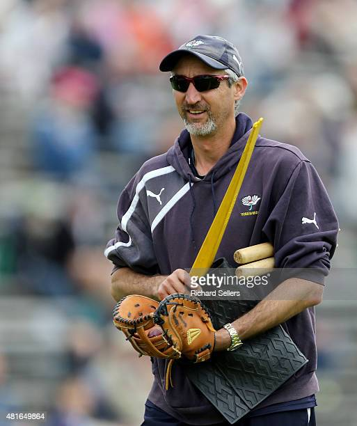 Yorkshire coach Jason Gillespie on day three of the LV County Championship division one match between Yorkshire and Worcestershire at North Marine...