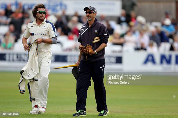 Yorkshire coach Jason Gillespie with Yorkshire's Ryan Sidebottom before play on day three of the LV County Championship division one match between...