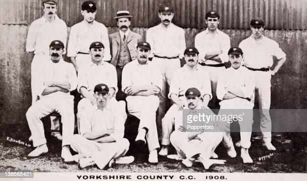 Yorkshire County cricket team circa 1908 Back row John Newstead James Rothery Mr Hoyland David Denton WHWilkinson William Bates Seated David Hunter...