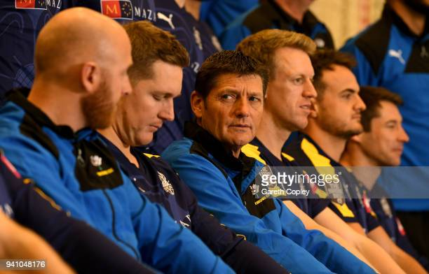 Yorkshire Director of Cricket Martyn Moxon with his players as they pose for the team photograph during the Yorkshire CCC Media Day at Headingley on...