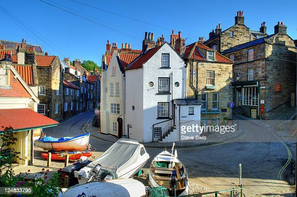 yorkshire fishing village and boats - whitby north yorkshire england stock pictures, royalty-free photos & images