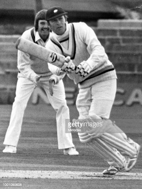 Yorkshire opening bat Geoff Boycott strokes the ball back to the bowler during his knock at Acklam Park today 2nd May 1979