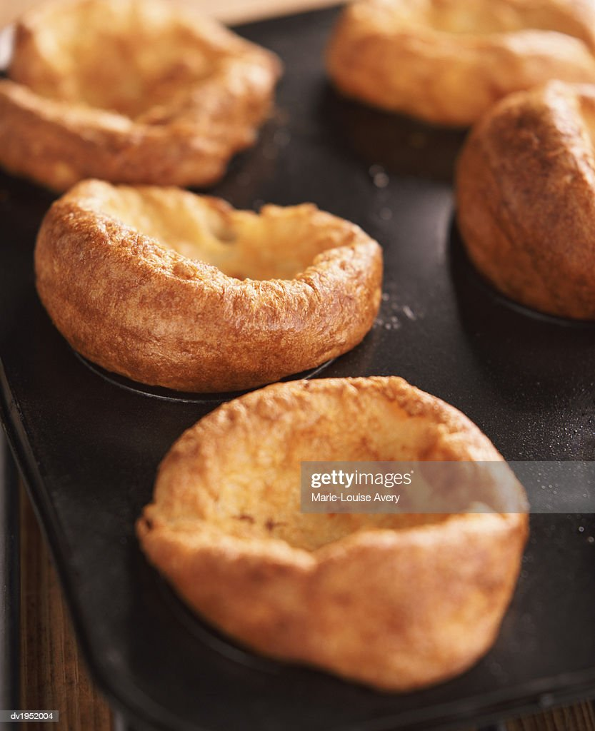Yorkshire Puddings in a Baking Tray : Stock Photo