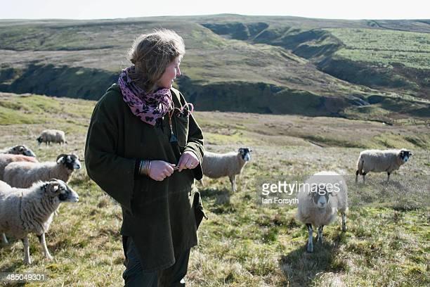 Yorkshire Shepherdess Amanda Owen looks out over the moors of Swaledale on April 15 2014 near Kirkby Stephen England Amanda Owen runs a 2000 acre...
