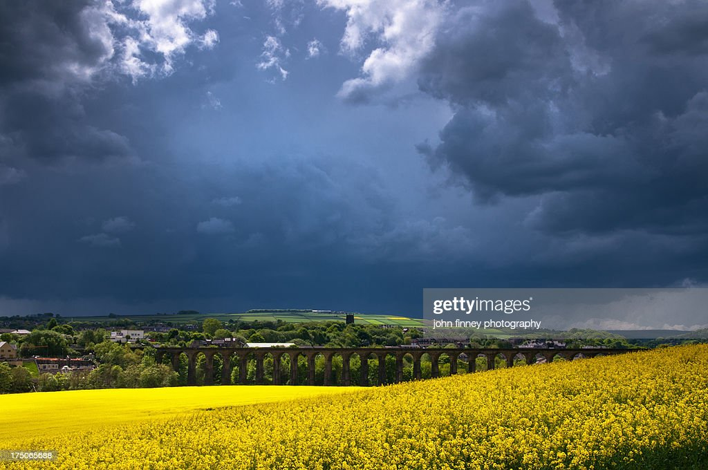 Yorkshire Storm. Penistone Railway Viaduct : Stock Photo