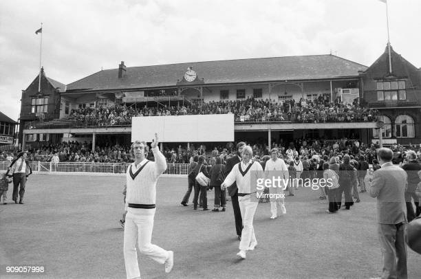 Yorkshire v Lancashire, County Championship at Bramall Lane, Sheffield. Lancashire captain David Lloyd leads his team out on the first day at Bramall...
