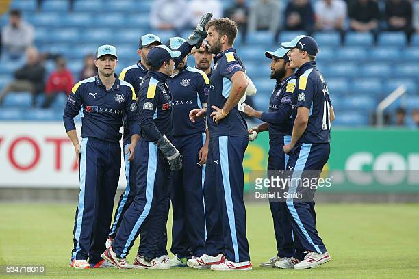Yorkshire Vikings celebrate after dismissing Kevin O'Brien of Leicestershire Foxes during the NatWest T20 Blast match between Yorkshire and...