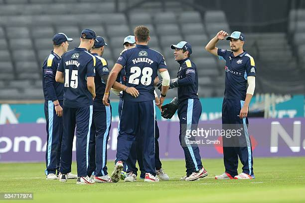 Yorkshire Vikings celebrate the dismissal of Umar Akmal of Leicestershire Foxes during the NatWest T20 Blast match between Yorkshire and...