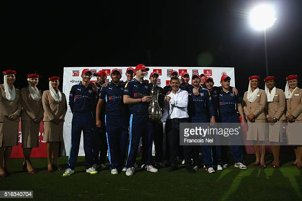 Yorkshire Vikings celebrates with the the trophy after winning the Emirates Airline T20 Cup Final match between Lancashire Lightning and Yorkshire...