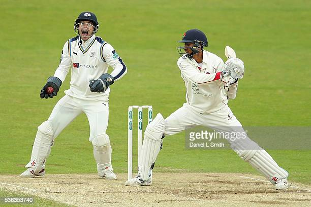 Yorkshire wicket keeper Andy Hodd reacts after catching the ball off Haseeb Hameed of Lancashire during day four of the Specsavers County...