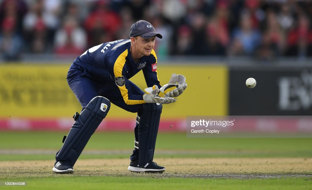 Yorkshire wicketkeeper Jonathan Tattersall during the Vitality Blast match between Lancashire Lighting and Yorkshire Vikings at Old Trafford on July 20, 2018 in Manchester, England.