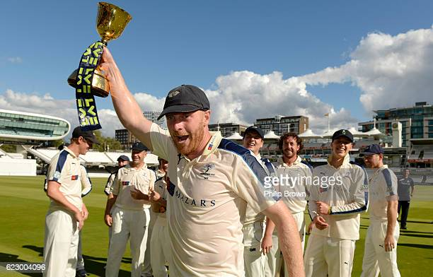 Yorkshire's captain Andrew Gale celebrates winning the LV County Championship Trophy following the LV County Championship match between Middlesex and...
