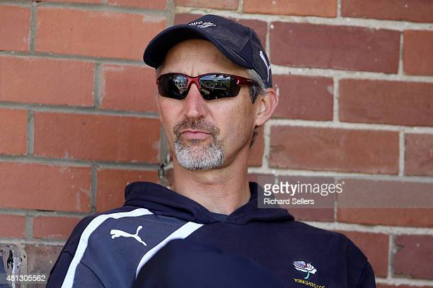 Yorkshire's coach Jason Gillespie watches during day one of the LV County Championship division One match between Yorkshire and Worcestershire at...