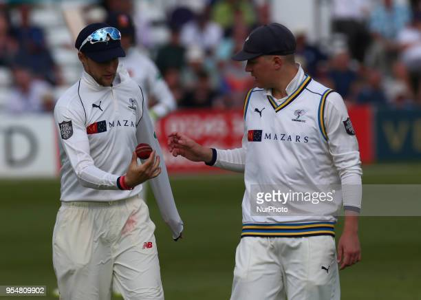 Yorkshire's Joe Root and Yorkshire's Gary Ballance during Specsavers County Championship Division One day one match between Essex CCC and Yorkshire...