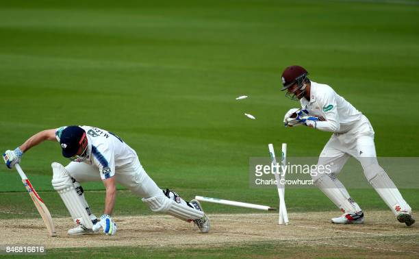 Yorkshire's Shaun Marsh is stumped by Surrey keeper Ben Foakes during day three of the Specsavers County Championship Division One match between...