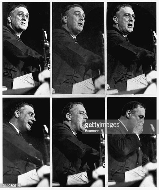 The above six candid camera poses of Franklin D. Roosevelt, Governor of New York, were made when that statesman was addressing the Democratic...