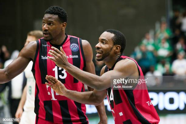 Yorman Polas Bartolo and Josh Mayo of Bonn during the Basket ball Champions League match between Nanterre and Bonn on January 24 2018 in Nanterre...