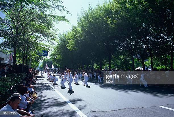 yosakoi soran festival in hokkaido, japan - sapporo festival stock pictures, royalty-free photos & images