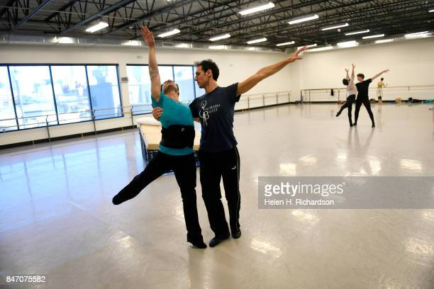 DENVER CO SEPTEMBER 12 Yosavni Ramos left and fellow dancer Domenico Luciano rehearse for the upcoming production of Dracula at Colorado Ballet on...
